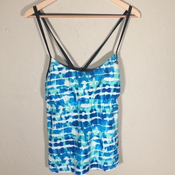 adidas Other - Adidas swim tankini blue green wave motif sz. 16